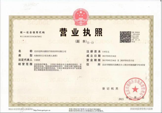 北京龙泽日盛医疗美诊所有限公司